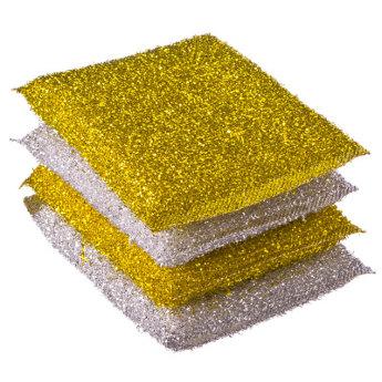 Губка 4шт.золот-серебр.8*12см441200